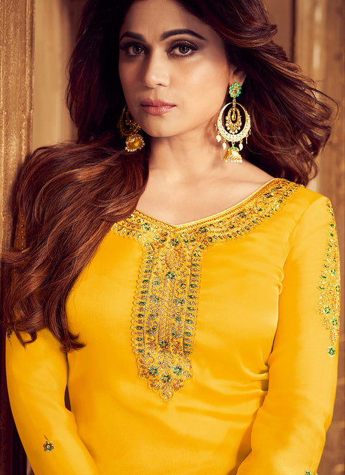 Yellow And Green Embroidered Palazzo Suit