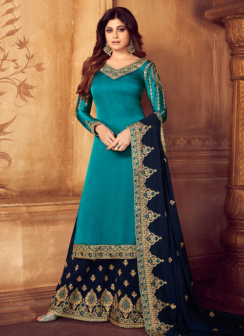Turquoise And Blue Embroidered Palazzo Suit