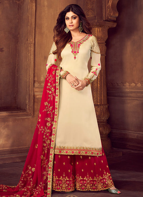 Beige And Crimson Embroidered Palazzo Suit