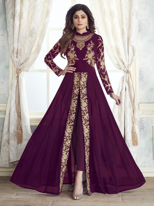 Wine Purple Designer Slit Style Anarkali Pant Suit