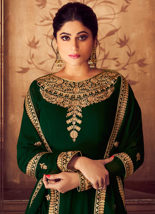 Deep Green Golden Party Wear Anarkali Suit