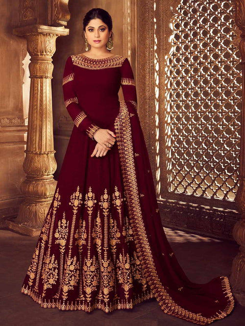 Maroon Golden Party Wear Anarkali Suit