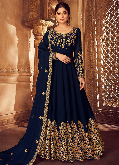 Dark Blue Golden Party Wear Anarkali Suit