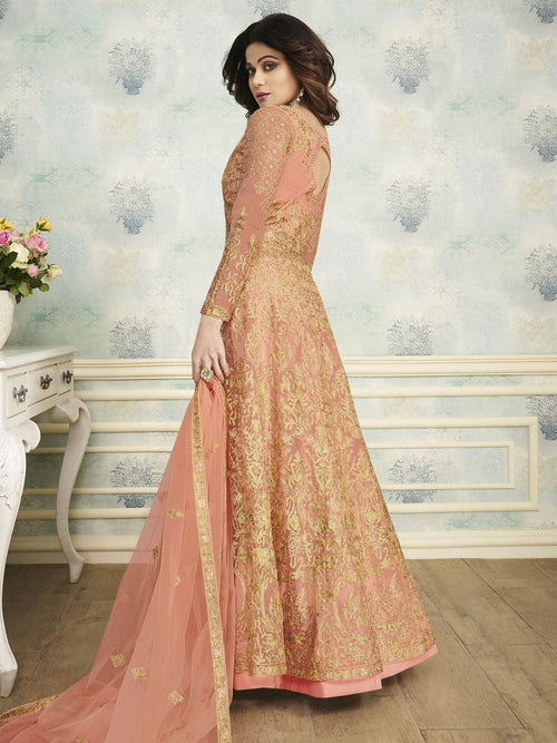 Peach Heavy Indo Western Wedding Lehenga