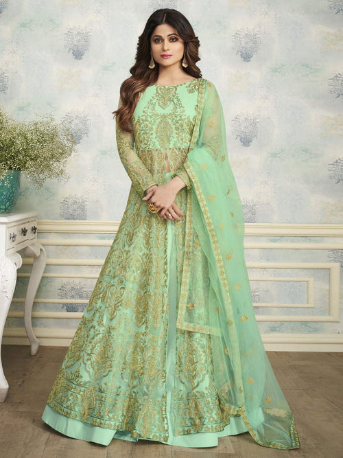 Pista Green Indo Western Wedding Lehenga