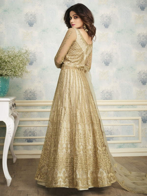 Golden Indo Western Wedding Lehenga