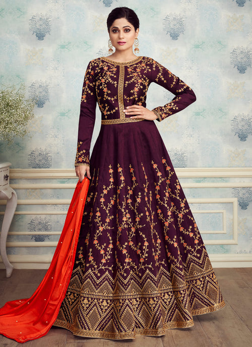 Deep Maroon Golden Embroidered Silk Anarkali Suit