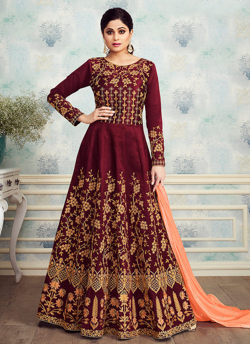 Red Rouge Golden Embroidered Silk Anarkali Suit