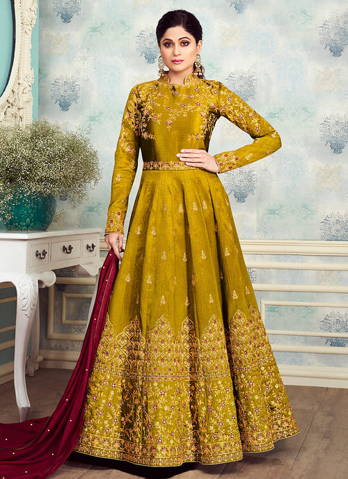 Yellow And Maroon Golden Embroidered Silk Anarkali Suit
