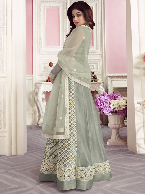 Light Teal Overall Embroidered Net Anarkali Suit