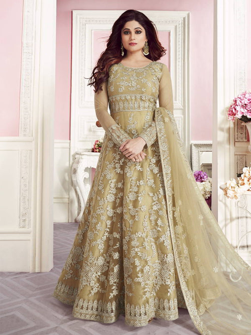 Ochre Yellow Overall Embroidered Net Anarkali Suit