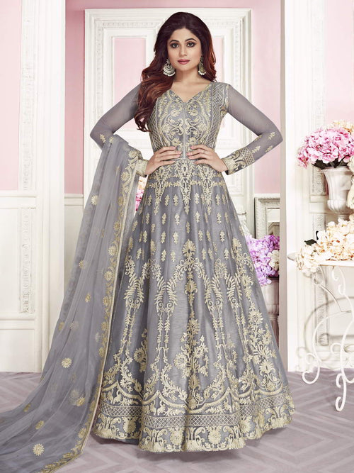 Grey Overall Embroidered Net Anarkali Suit