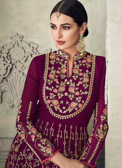 Plum Purple All Embroidered Anarkali Gharara Suit