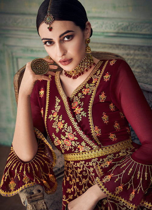 Marron And Peach Anarkali Gharara Suit