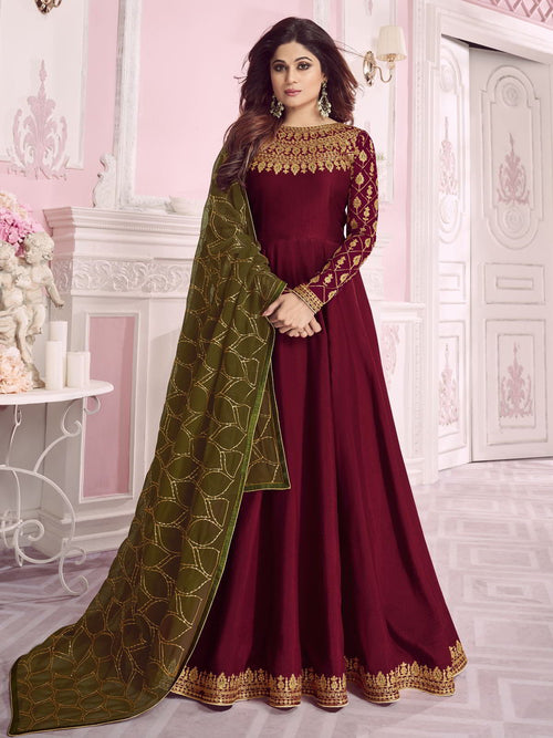 Marron And Green Embroidered Anarkali Suit