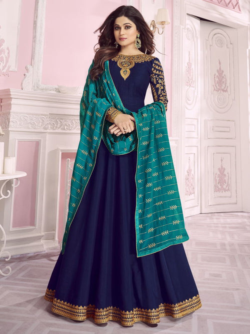 Blue And Turquoise Traditional Embroidered Anarkali Suit