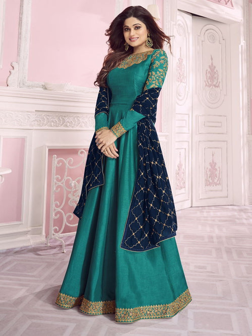 Turquoise And Blue Traditional Anarkali Suit