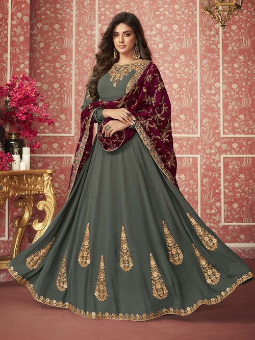 Green And Maroon Zari Embroidered Anarkali Suit