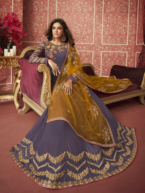 Purple And Yellow Traditional Anarkali Suit