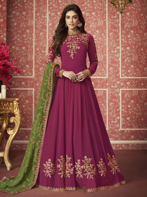 Pink And Green Traditional Anarkali Suit