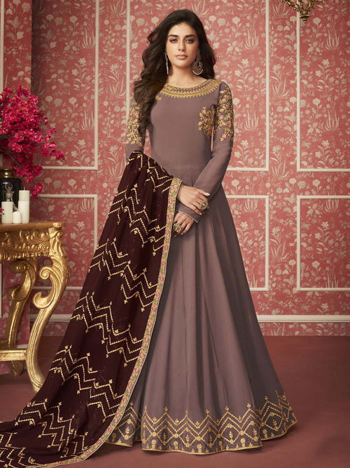 Mauve And Maroon Traditional Anarkali Suit