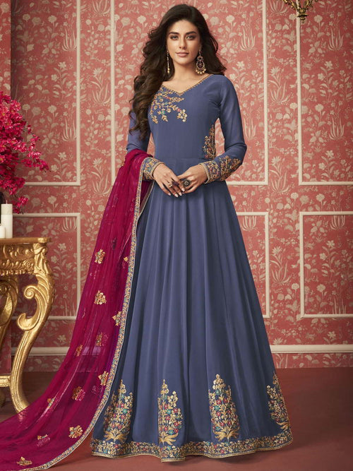 Rust Blue And Pink Traditional Anarkali Suit