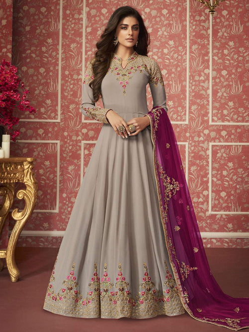 Grey And Pink Traditional Anarkali Suit