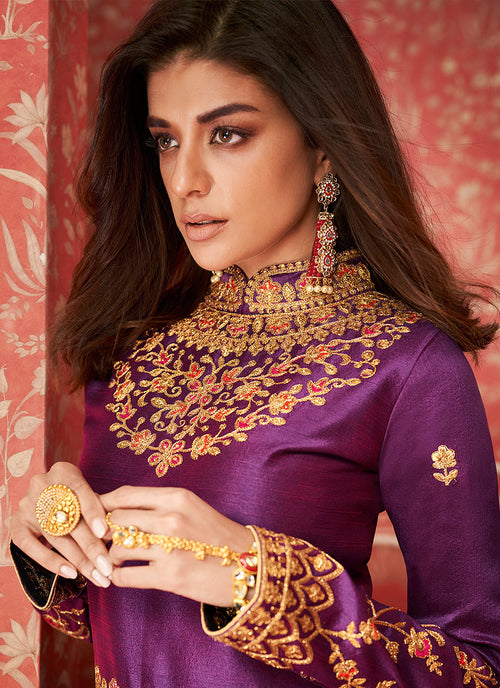 Purple And Golden Anarkali Lehenga Suit
