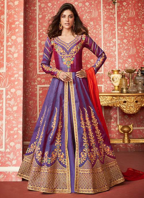 Bluish Purple Anarkali Lehenga Suit