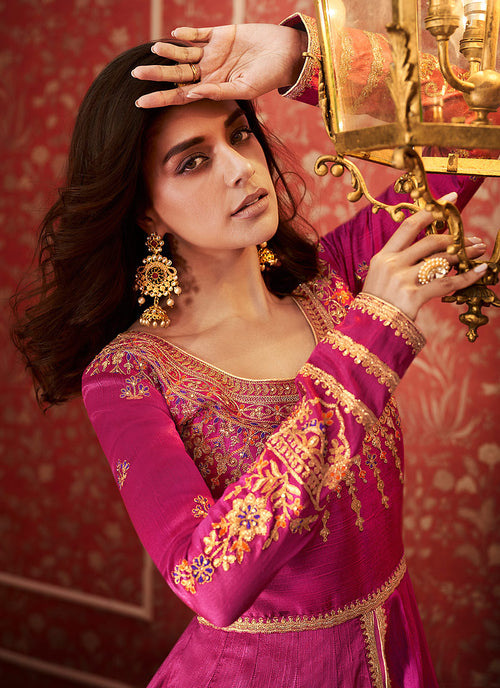Pink And Golden Anarkali Lehenga Suit
