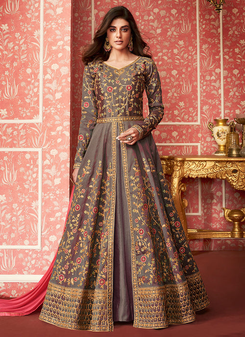 Mauve And Pink Anarkali Lehenga Suit