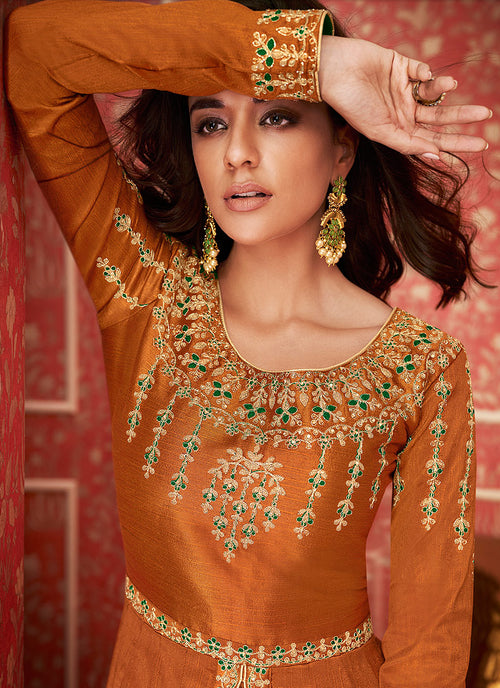 Orange And Green Anarkali Lehenga Suit