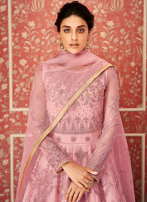 Pink Multi Embroidered Indian Anarkali Suit