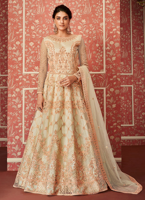 Off White And Peach Embroidered Anarkali Suit