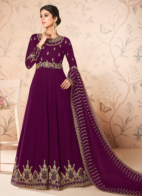 Plum Purple Zari Embroidered Anarkali Suit