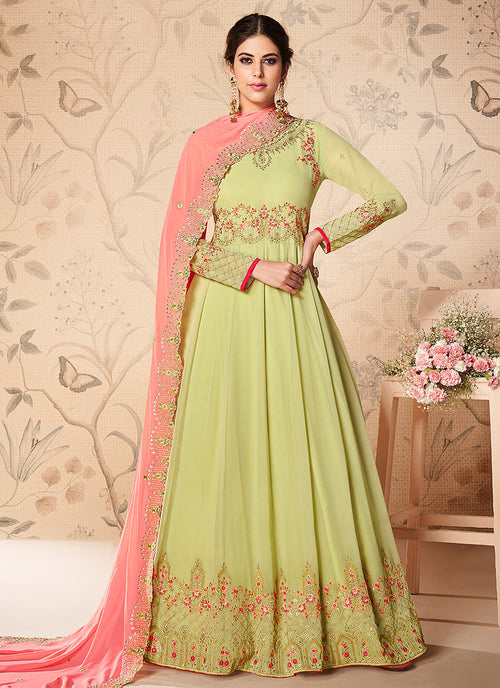 Light Green And Pink Floral Embroidered Anarkali Suit