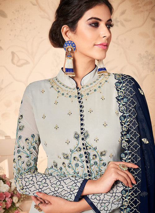 Grey And Blue Floral Embroidered Anarkali Suit