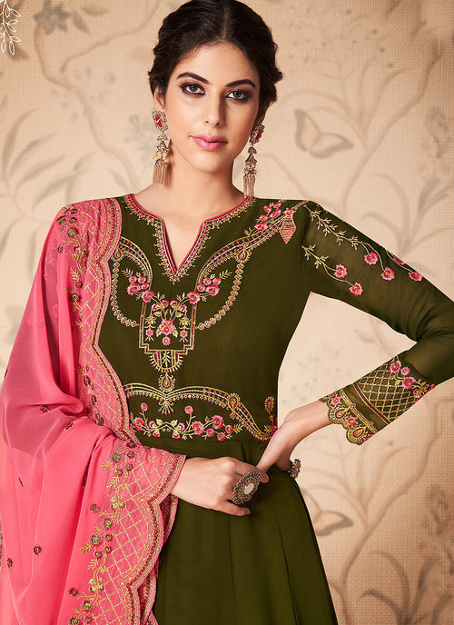 Green And Pink Embroidered Anarkali Suit