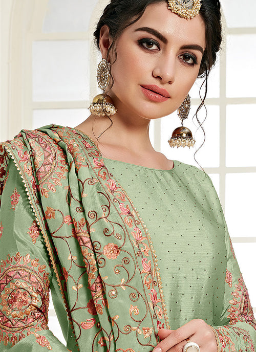 Indian Dresses - Mint Green Palazzo Suit