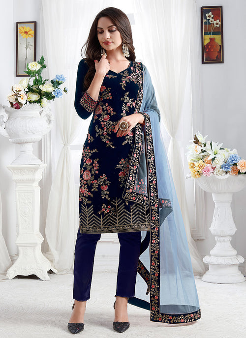 Blue Embroidered Designer Pant Suit