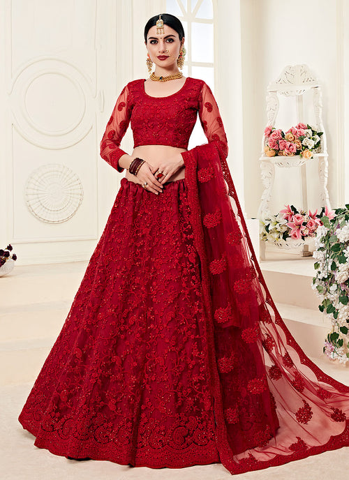 Indian Clothes - Red Pearl Embroidered Wedding Lehenga Choli