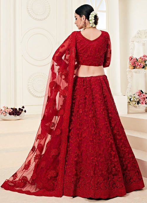 Red Pearl Embroidered Wedding Lehenga Choli