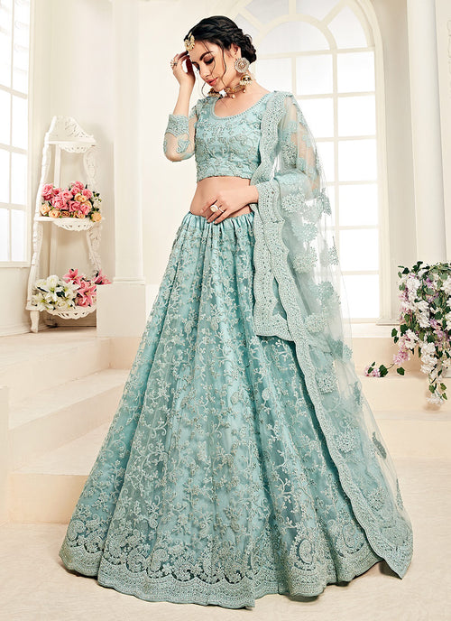Indian Clothes - Aqua Blue Pearl Embroidered Wedding Lehenga Choli Set