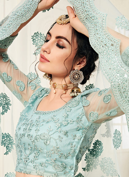 Aqua Blue Pearl Embroidered Wedding Lehenga Choli Set, Salwar Kameez