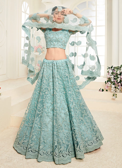 Aqua Blue Pearl Embroidered Wedding Lehenga Choli