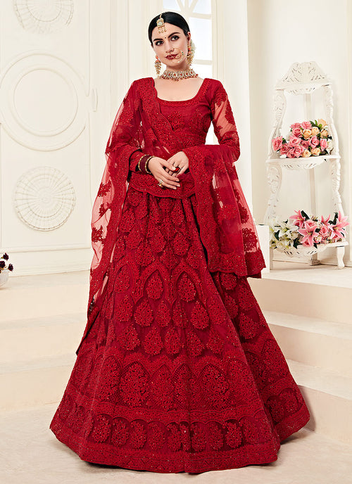 Indian Clothes - Bridal Red Pearl Embroidered Wedding Lehenga Choli