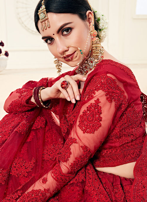 Bridal Red Pearl Embroidered Wedding Lehenga Choli, Lehenga