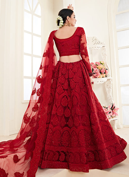Bridal Red Pearl Embroidered Wedding Lehenga Choli
