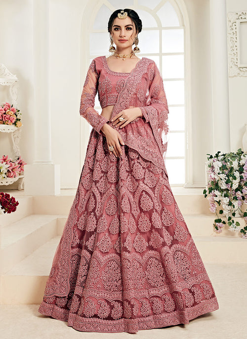 Indian Clothes - Blush Pink Pearl Embroidered Wedding Lehenga Choli