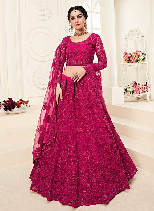 Indian Clothes - Bridal Pink Pearl Embroidered Wedding Lehenga Choli